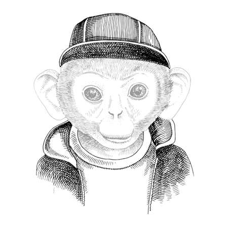 Hand drawn portrait of monkey with accessories Stock Illustratie