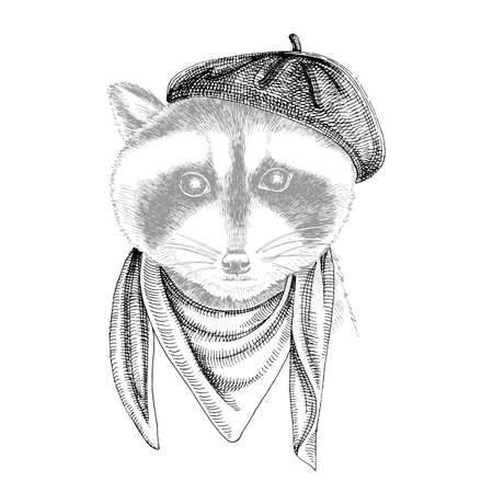 Portrait of Raccoon baby with accessories