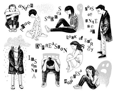 Hand-drawn illustration with depressed people.