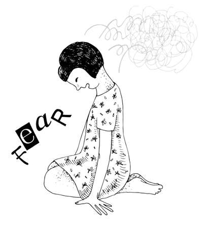 Seated girl shackled by fear Stock Illustratie
