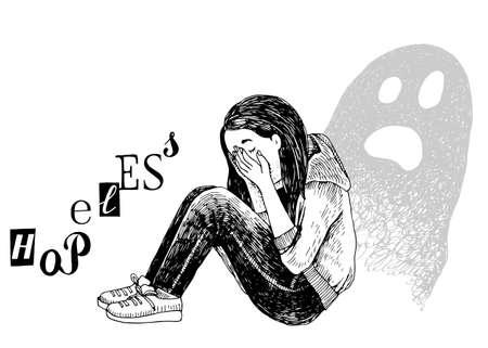 Depressed teenage girl sitting on floor Stock Illustratie