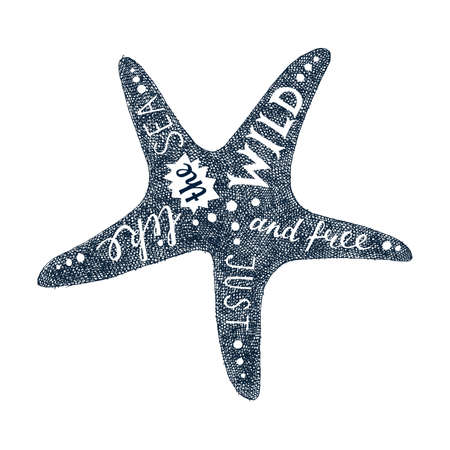 Hand drawn lettering in starfish silhouette
