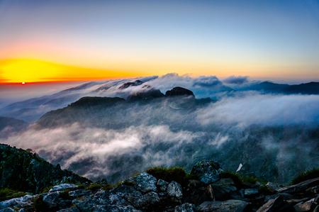 Beautiful sunrise over Rila mountain in Bulgaria
