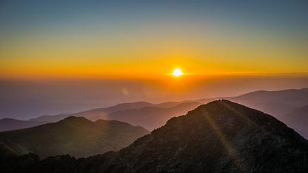 Beautiful Sunrise Over Rila Mountain in Bulgaria (View From The Highest Peak On The Balkan Peninsula, Musala) Stock Photo
