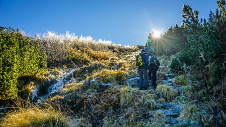 Group of hikers climb the frozen mountain at sunrise
