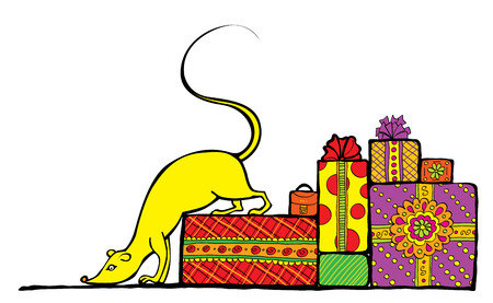 Vector image of yellow mouse which is swarming up the heap of gifts. Stock Vector - 2837741