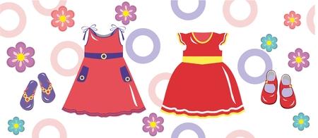 Multicolor babyjurk voor meisjes en schoenen met bloemen en cirkels Stock Illustratie