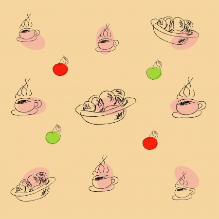 Vector seamless with cup, plate and apple Vector
