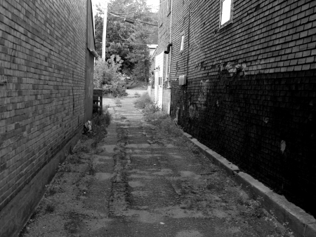 photo peering down an alley