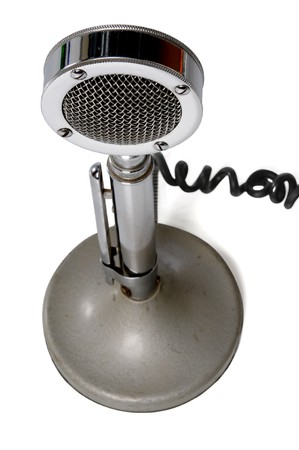 Birds eye view of vintage microphone isolated on a white background