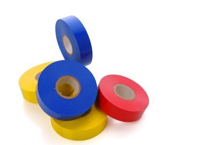Rollos de cinta de vinilo color rojo, amarillo y azul  Foto de archivo - 7863599