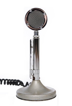 Vintage microphone isolated on a white background