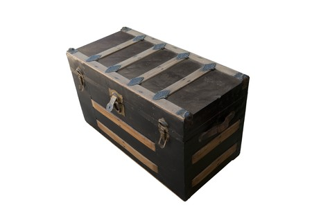 Antique worn trunk with the lid closed Stock Photo