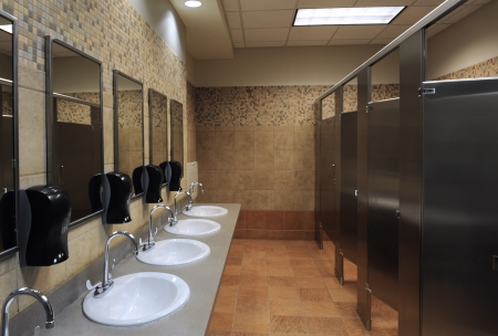bathroom interior: lavatory sinks in a public restroom