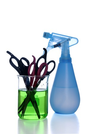 scissors and spray bottle  Stok Fotoğraf