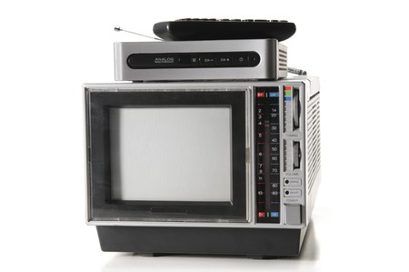 vintage portable tv with digital converter and remote