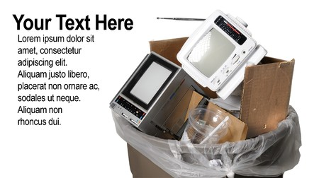 Two old portable televisions in a trash can Stock Photo