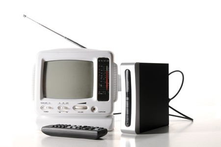 converter: Small white portable tv with digital converter box Stock Photo