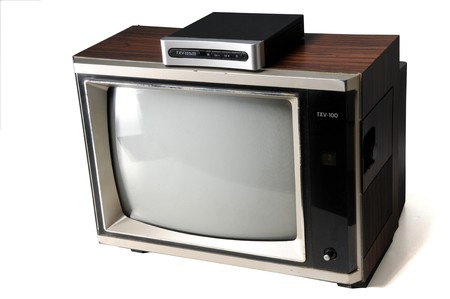 vintage woodgrain tv with digital converter