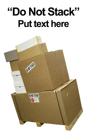 Stacked boxes with stackers saying do not stack
