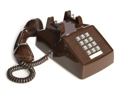 Oude bureau telefoon van de haak