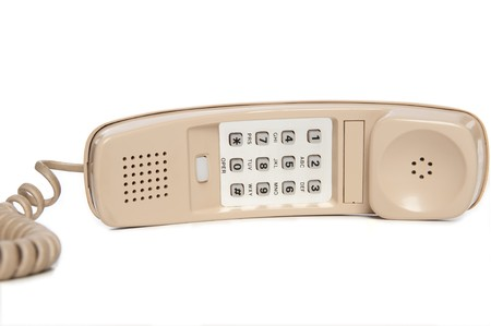 phone button: Old Beige Wall Phone