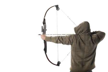 Hoodlum aims a compound bow and arrow photo