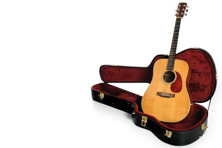 Acoustic guitar and plush case isolated against white background photo
