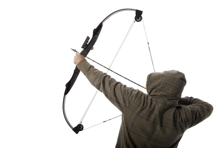 Hoodlum aims a compound bow and arrow
