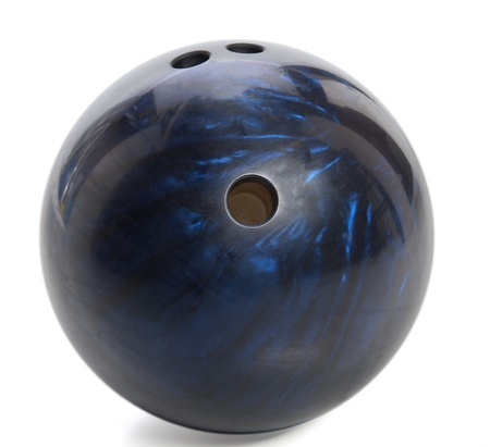 blue marbled bowling ball isolated on white Standard-Bild