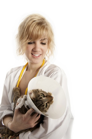 Pretty Young Blond Veterinarian examines a cat in a protective cone Stock Photo