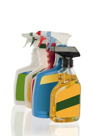 stain: Different colored spray bottles for laundry stain remover or household cleaning solution, isolated on a white background Stock Photo