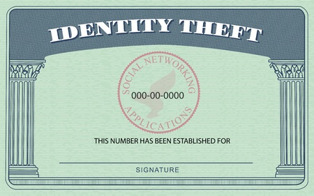 Identification Card modeled after the American Social Security Card, but boasting  Identity Theft  on top in place of  Social Security  photo