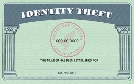 Identification Card nach dem amerikanischen Social Security Card modelliert, aber Prahlerei Identity Theft oben an Ort und Stelle für soziale Sicherheit Standard-Bild - 13068013
