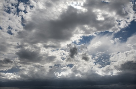 Mixture of white and dark clouds in the sky