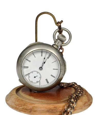 memento: Vintage Railroad Pocketwatch on a display isolated on white Stock Photo