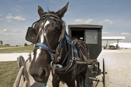 In a clash of cultures, an Amish horse and buggy are parked on a gravel lot beside a modern gas station Stock Photo - 13996755