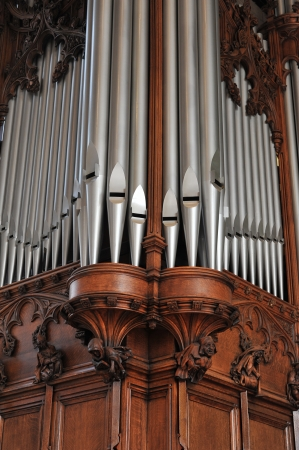 hymn: Beautiful old pipe organ pipes Stock Photo