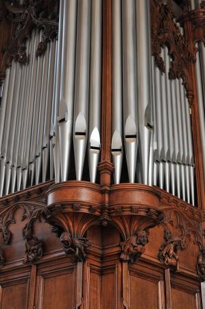 pipe organ: Beautiful old pipe organ pipes Stock Photo