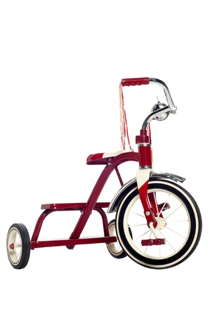Red child's tricycle on a white Stock Photo - 23312043