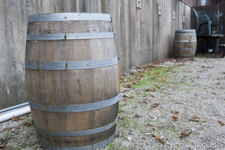 Barrels standing behind a winery Stock Photo - 23870905
