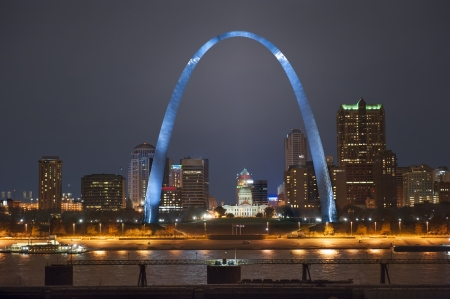 Night shot of downtown St  Louis riverfront with the Arch shot from the Illinois side of the river photo