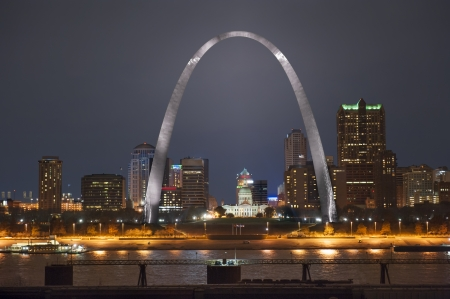 Night shot of downtown St  Louis riverfront with the Arch shot from the Illinois side of the river