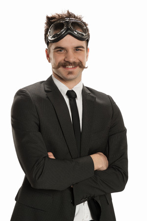 Handsome young businessman wearing a pair of avaitor Stock Photo