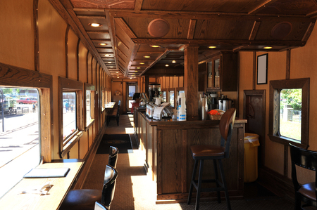 Vintage dining car on a train in Colorados Royal Gorge