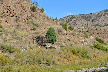 Old gold mining shack on mountainside in the Colorados Royal Gorge
