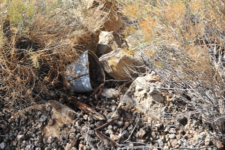 A bucket of rusty railroad spikes lies on its side among the brush and rocks lining the side of train tracks Stock Photo