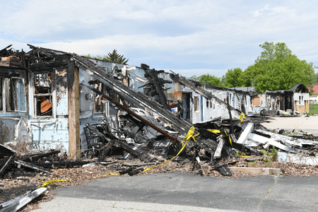 The charred remains of a motel burned down in a devestating fire