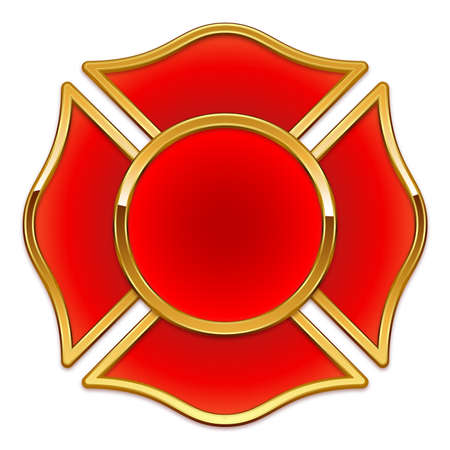 Blank fire department logo base red with gold chrome trim vector illustration