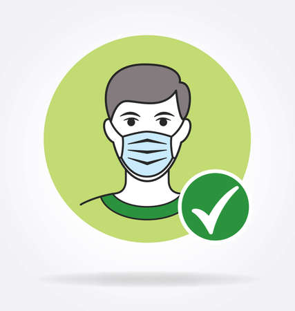 man with facemask and green tick checkmark against coronavirus covid 19 simple color illustration
